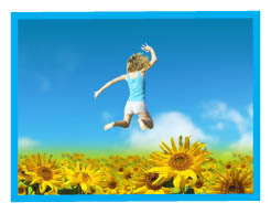 girl jumping over sunflowers